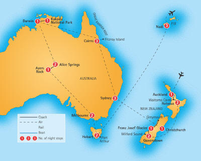 australia escorted tours grand escorted tour map
